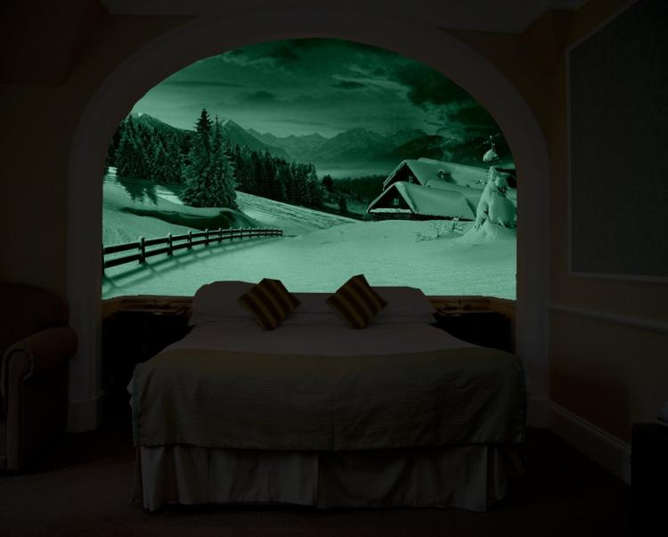glow in the dark wall mural that makes it look like you