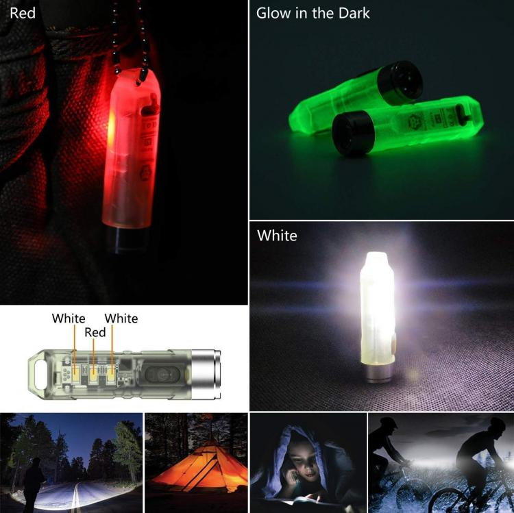 Glow In The Dark Flashlight - Tiny glowing flashlight key-chain