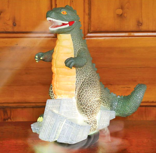 Godzilla Humidifier and Diffuser - Godzilla mister makes it look like he's breathing fire and smoke