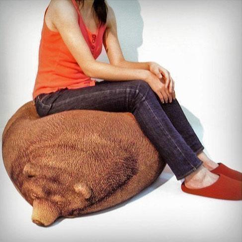 Realistic Grizzly Bear Bean Bag Chair