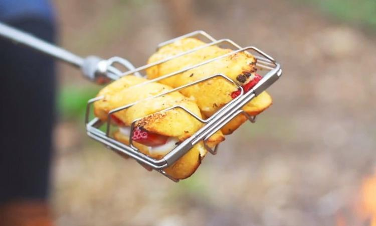 Grubstick Campfire cooking stick - Campfire cage griller lets you cook anything over a camp fire