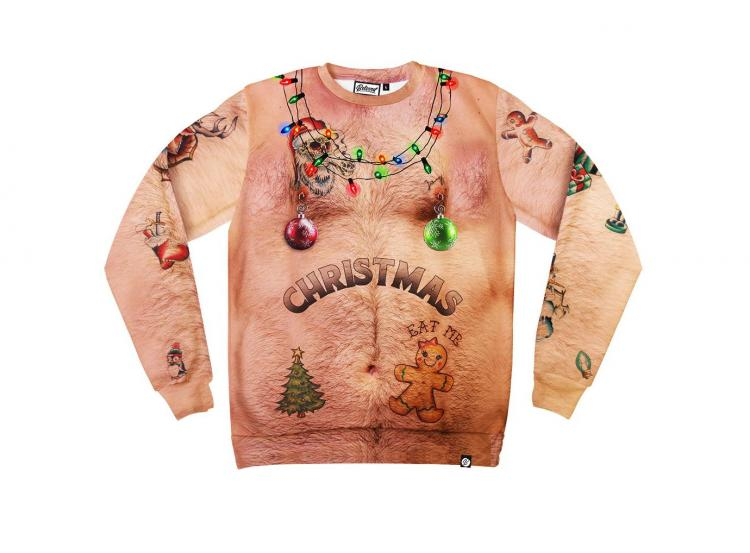 Hairy Chest and Tattoos Ugly Christmas Sweater