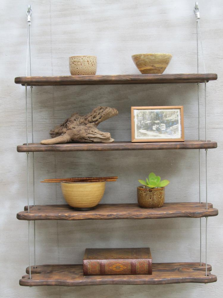 Hanging Driftwood Shelves - Industrial Rustic wooden shelving