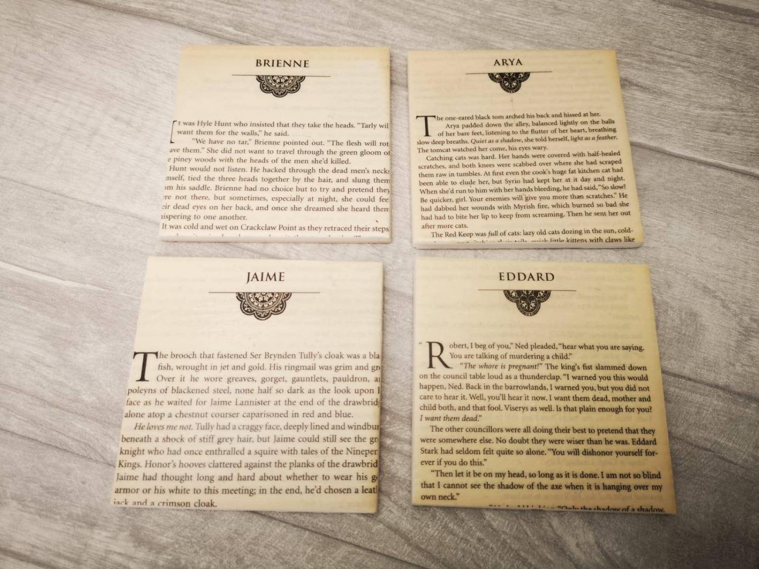 Game Of Thrones Novel Coasters Let You Read a Page Every Time You Put Your Cup Down