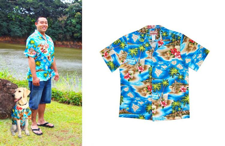 Hawaiian Dog Shirts - Matching human and dog Hawaiian shirts - Aloha dog party shirts