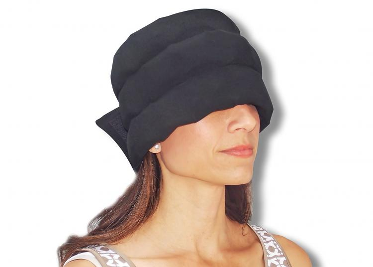 Headache Relief Hat - Ice holding head wrap helps relieve headaches and neck strain
