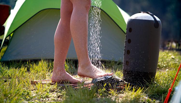 Helio Portable Shower- Foot Pedal Pressurized Shower - Pressure camping shower