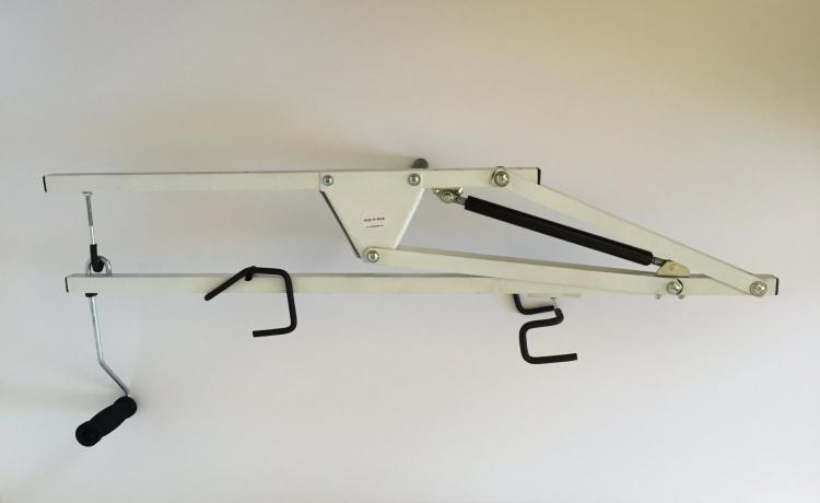 Hide-a-Ride Bicycling Ceiling Mount - Mount your bike on your ceiling sideways to save space in home