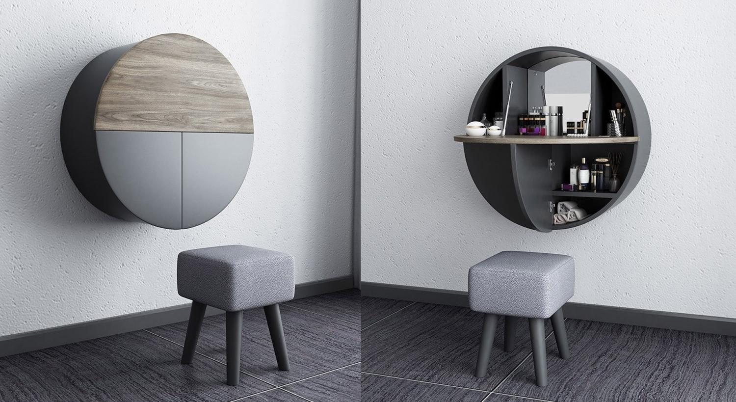 The Ultimate Hideaway Makeup Vanity - Wooden makeup vanity with hidden mirror, chair, and storage