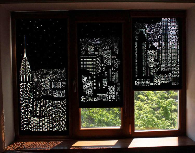 Hole Role: Blackout Curtains With Holes To Create Incredible Designs - Coolest curtains - City landscape curtains