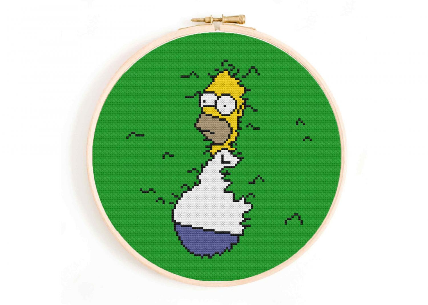 Homer Backing Up Into The Bushes - Home Simpson Bushes Meme Cross Stitch