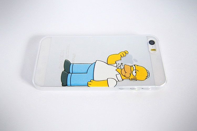 Homer Simpson Eating Apple iPhone Case - Homer Simpson Eating Apple Logo Phone Case