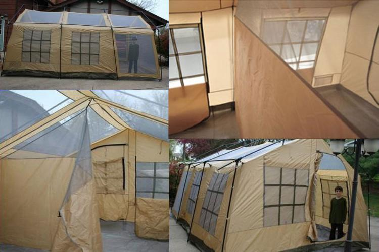 Giant 10 Person Tent - House Shaped Tent - Northwest Territory Ten Person Cabin Tent & Giant House Shaped Tent With a Front Porch - Fits 10 People