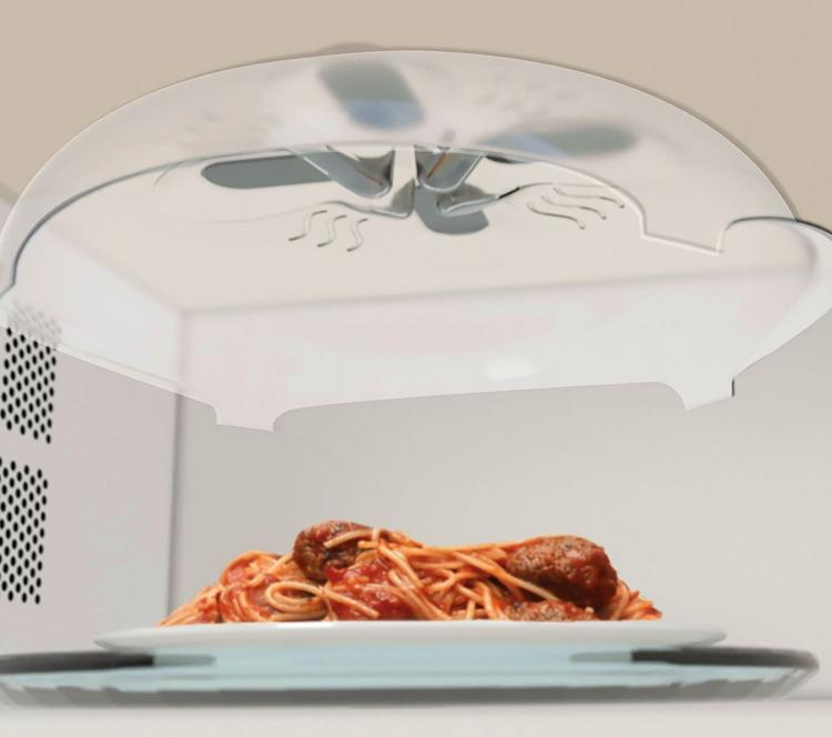 Hover Cover Magnetic Microwave Splatter Lid - Microwave lid attaches to top of microwave ceiling when not in use