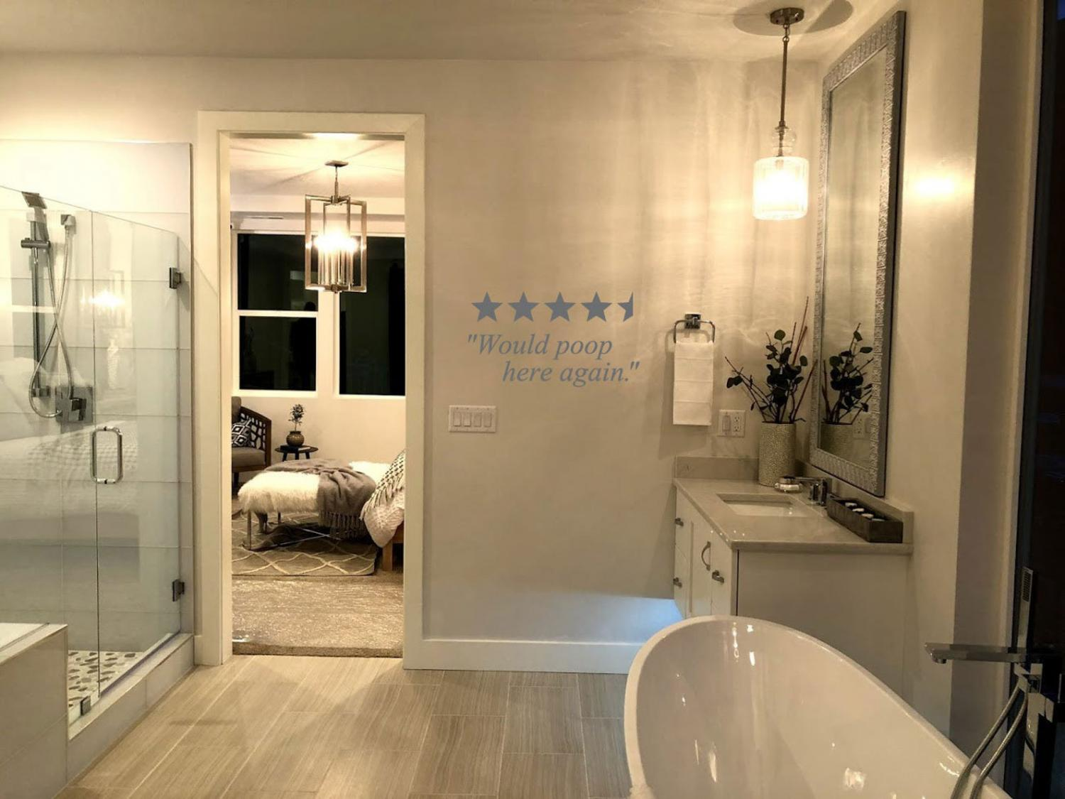 Would Poop Here Again - 5 Star Bathroom Review Wall Decal