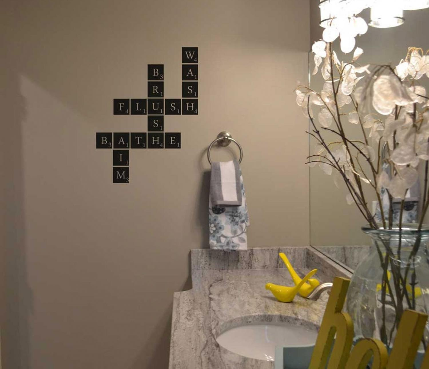 Wash Brush Flush Bathe Aim Scrabble Wall Bathroom Decal