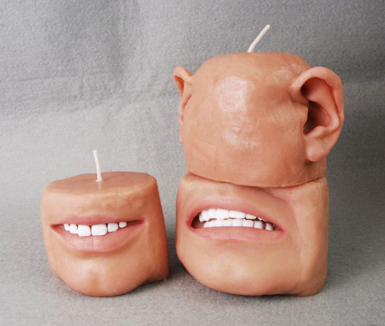 Human Face With Only Mouth Candle