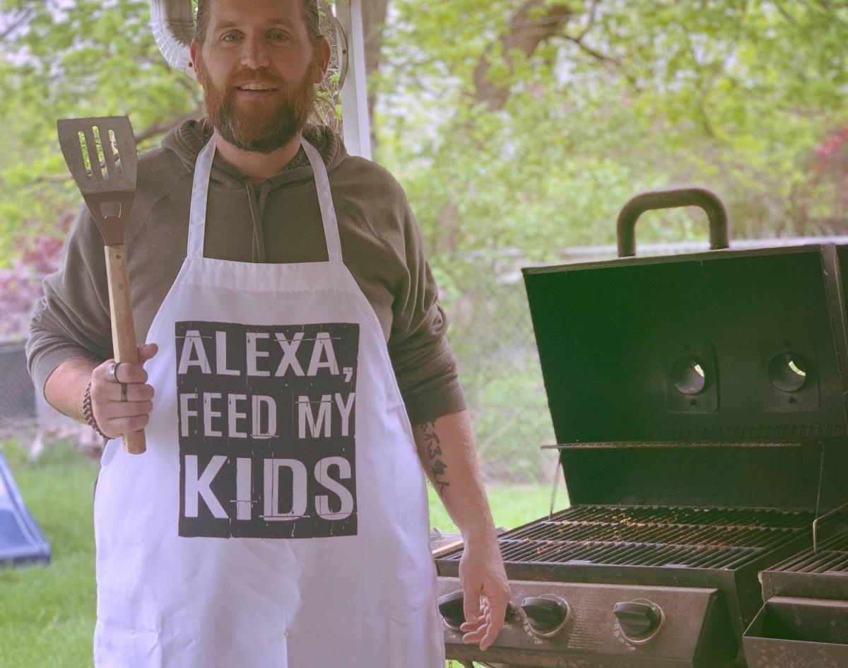 Alexa Feed My Kids - Funny BBQ Apron - Hilarious dad apron