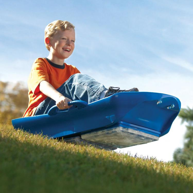 Ice Sled - Ice Meister Slicer - All-Season Sled rides on blocks of ice on grass