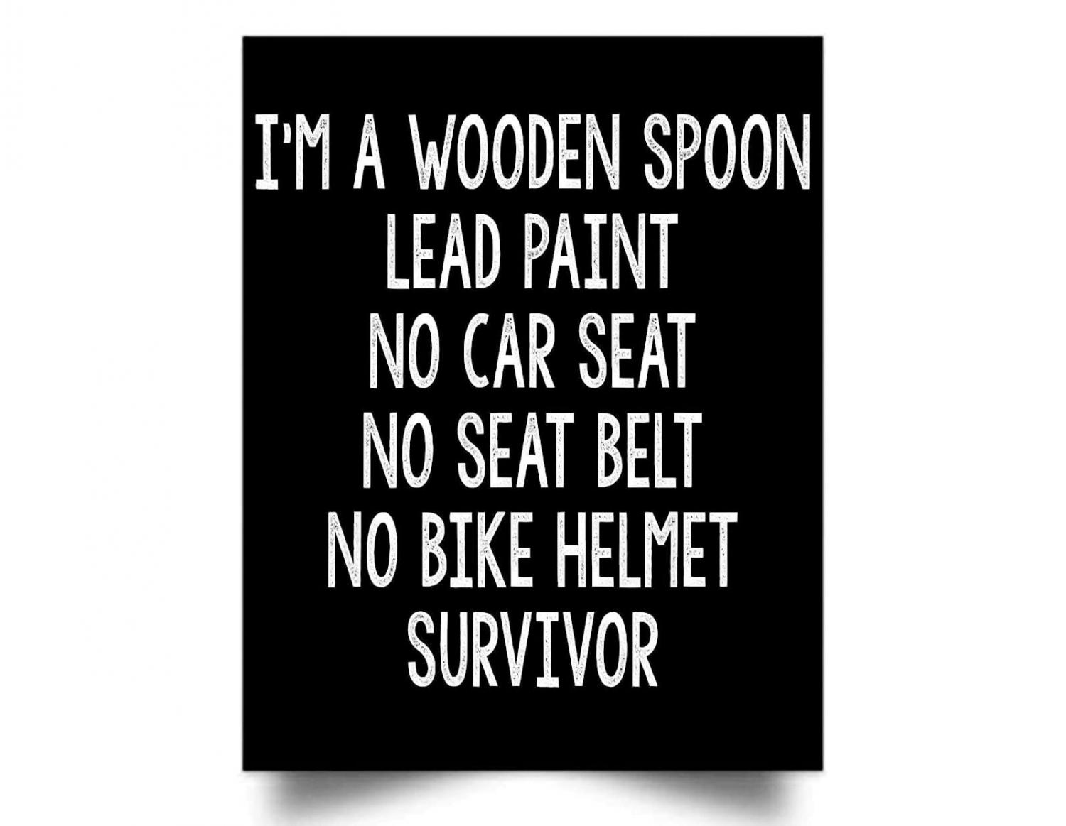 I'm A Wooden Spoon Lead Paint No Car Seat No Helmet Bed Of Truck Garden Hose Drinking Survivor