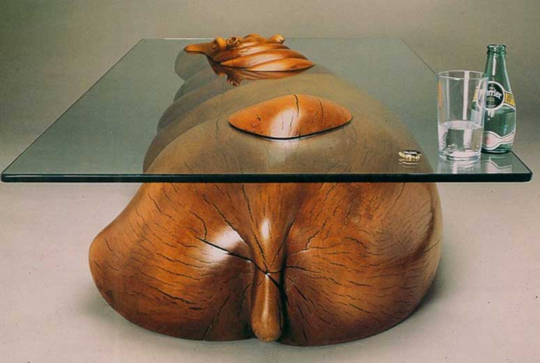 Glass Hippo Table - Designer Hippopotamus Table With Head Peaking Out Of Glass Tabletop