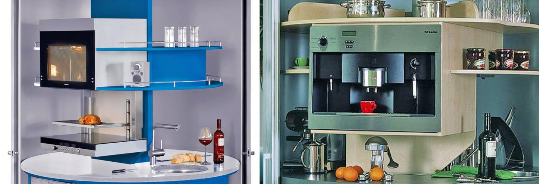 Rotating Circle Kitchen - Futuristic minimal design space-saving kitchen that spins