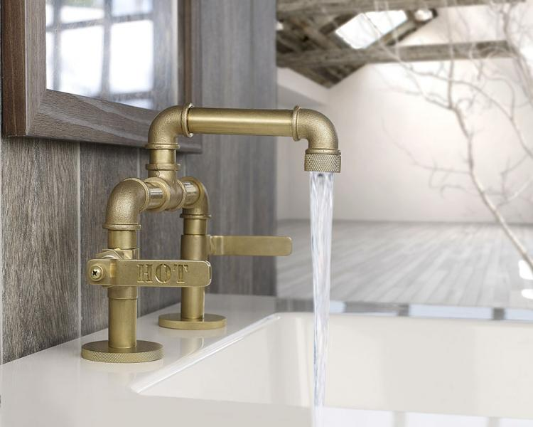 This Bathroom Faucet Looks Like An Old Industrial Pipe #1: industrial pipe faucet 6721