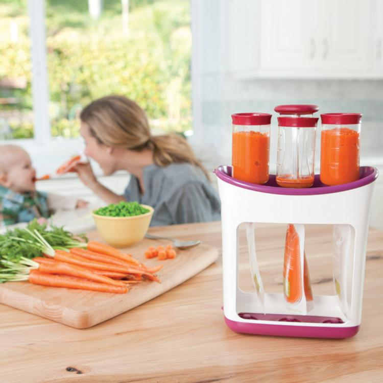 Infantino Squeeze Station - On-The-Go Baby Food Maker - Homemade travel baby food maker pouches