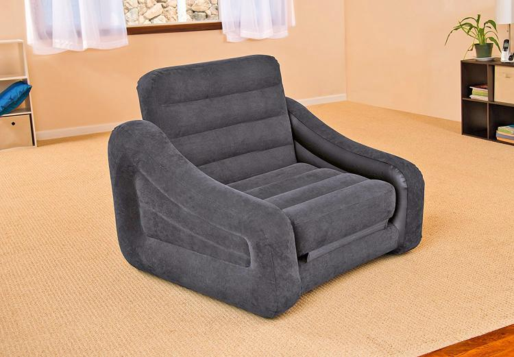 Inflatable Pull-Out Sofa Chair Twin Bed - Intex blow-up chair converts into a twin bed