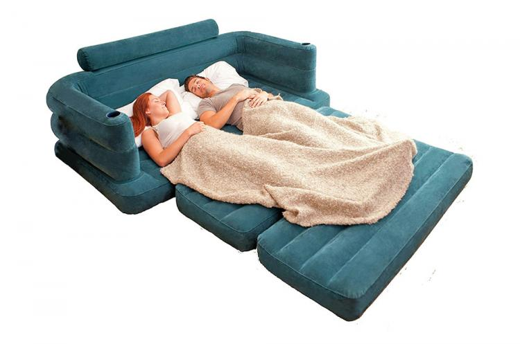 Inflatable Pull-Out Queen-Size Sofa Bed - Intex blow-up couch converts into a queen bed