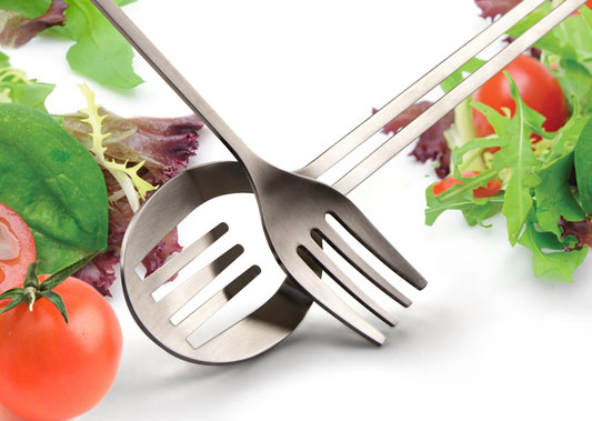 Inset Salad Servers Fork and Spoon
