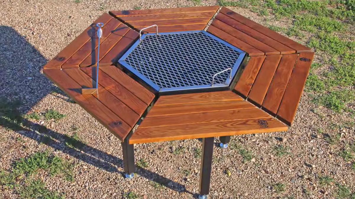 Jag Grill Table - Hexagon 6 Sided Community BBQ Grilling Table