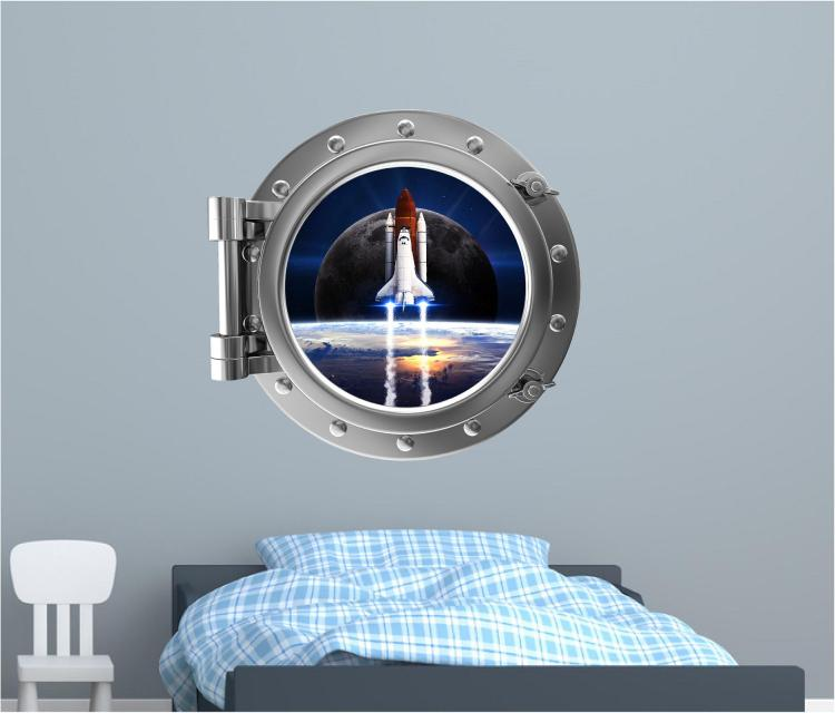 Launching Space Ship Outer-space ship window decal - Space window apartment wall decal