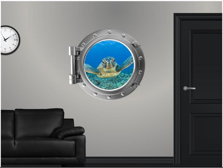 Swimming Turtle Underwater ship window decal - underwater window apartment wall decal