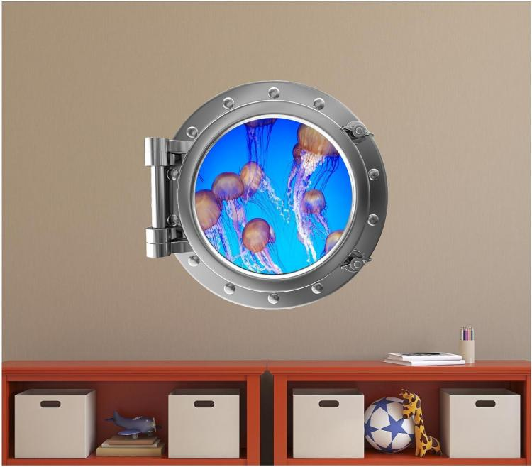 Jellyfish Underwater ship window decal - underwater window apartment wall decal