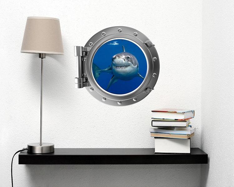 Swimming Shark Underwater ship window decal - underwater window apartment wall decal