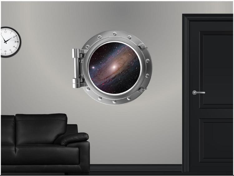 Galaxy Space Ship Outer-space ship window decal - Space window apartment wall decal