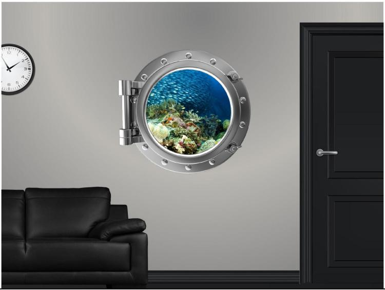 Coral reef school of fish Underwater ship window decal - underwater window apartment wall decal