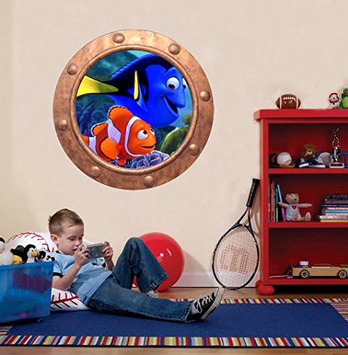Finding Nemo Underwater ship window decal - underwater window apartment wall decal