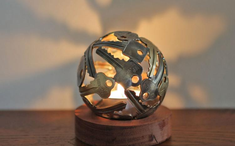 Key Art - Tea Light Made From Recycled Keys