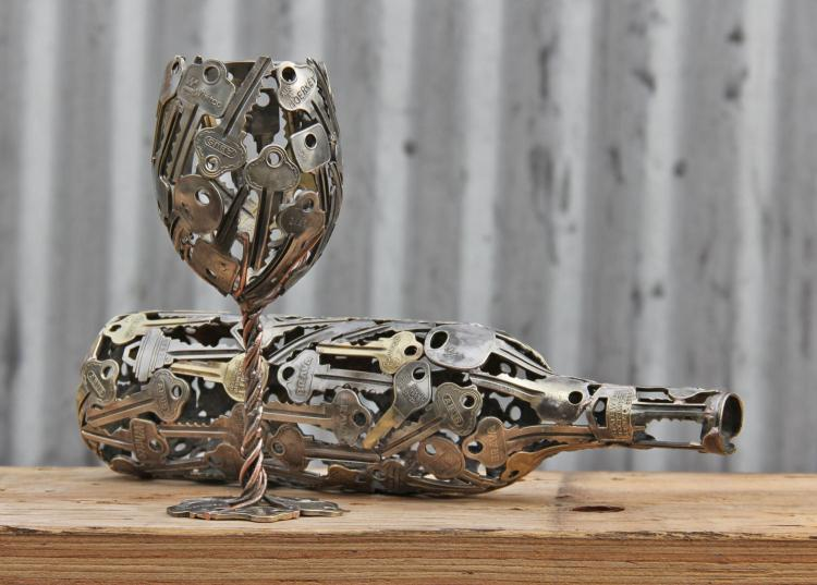 Key Art - WIne Glass and Bottle Made From Recycled Keys