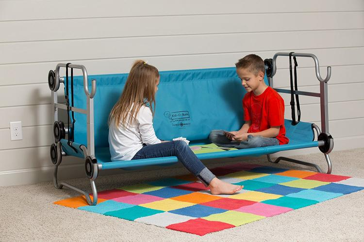 Disc-o-bed Kid-o-bunk - Portable Kids Camping Bunk-Beds That Turn into a sofa couch, and can be used as 2 separate camping cots