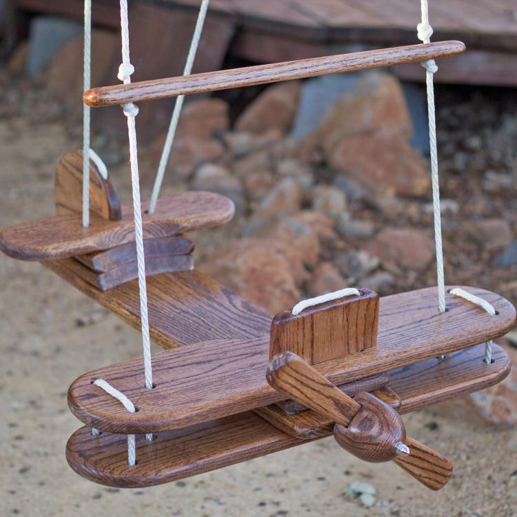 Outdoor Wooden Airplane Swing