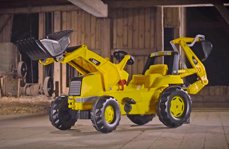 Kids Pedal Powered Backhoe Tractor - Rolly Toys Pedal Tractor With Functioning Shovel, digger, and plow