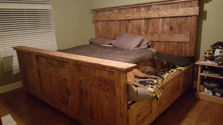 This Wooden King Bed Frame Leaves Extra Space For Your Dogs