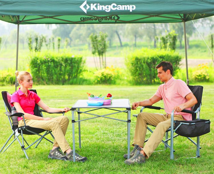 KingCamp lawn chair with attached side-table and cooler