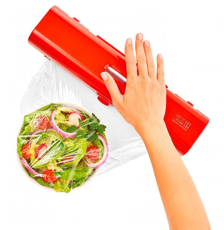 Kuhn Rikon Fast Wrap - Easy plastic wrap container and cutter - tinfoil and plastic wrap holder