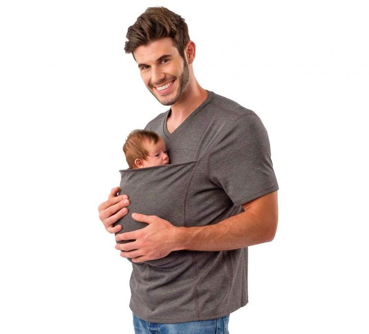 Lalabu Dad Shirt Has Giant Front Pocket For Holding Baby