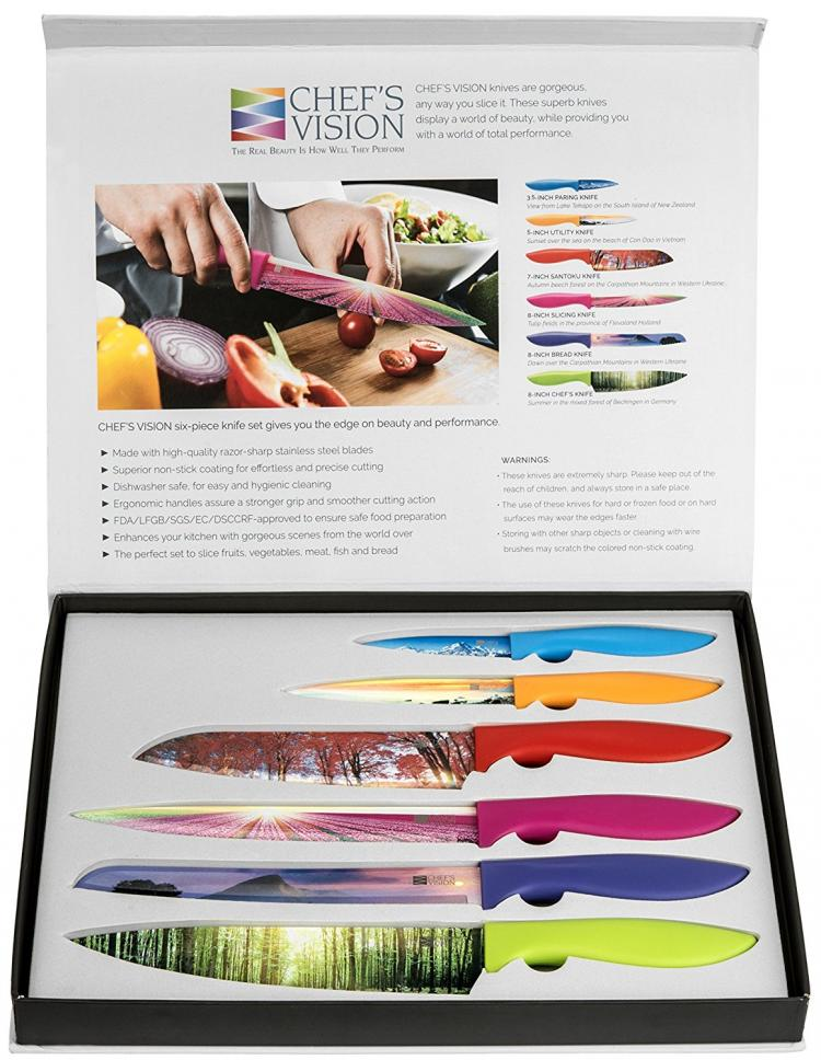 Chef's Vision Landscape Knife Set - Knives With Beautiful landscape pictures on the blades - picture blade knives