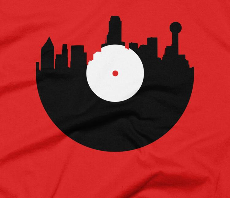 Landylines city skyline music record design t shirts Music shirt design ideas